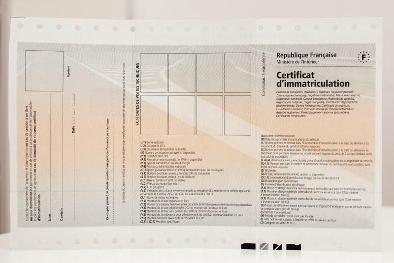 a quoi ressemble le certificat d'immatriculation